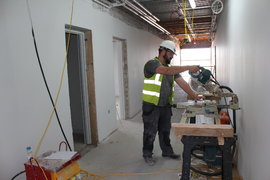 Timber work completion on corridors in South Buildings