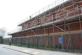 Scaffolding erected for new roof liquid plastic coating - ongoing