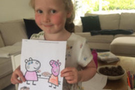 Olivia's carefully coloured a Peppa Pig picture for Mrs Pearce. So neat Olivia well done.