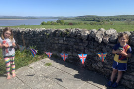 Lovely finished bunting and what a view!