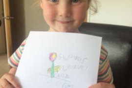 Olivia has been busy drawing and labelling a beautiful flower. We miss your smiley face Olivia.
