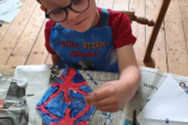 Asher painting his bunting ready for VE Day. Fantastic detail Asher.