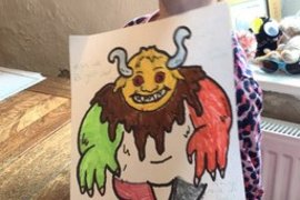 Lily has coloured and labelled the troll from the story; super work Lily!