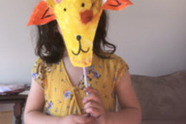 Mahlia's made a lovely colourful goat puppet; fantastic Mahlia, it even matches your dress!