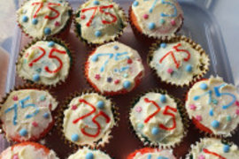 Asher's beautifully decorated cupcakes; 75 years since the end of World War Two in Europe!