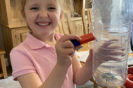 Eva had a go at Harry's science experiment this week and used a magnet to move a coin around the bottle. Why not have a go ...