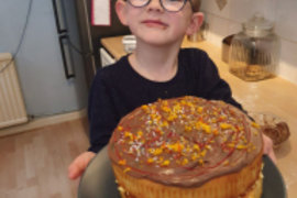 Asher has been busy making cakes and biscuits to share with his next door neighbours - so thoughtful Asher!