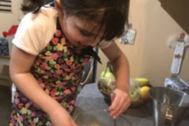 Mahlia has been enjoying cooking; especially tasting her cooking!