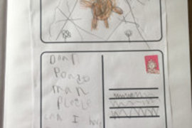 Isobel wrote a postcard to add to the story Dear Postman. Great writing Isobel and a lovely illustration.
