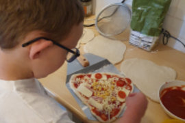 Homemade pizzas are on the menu in Asher's house - they look delicious. Great work Asher!
