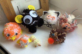 Can you guess who has been bust making these fantastic pompom creatures? Begins with L and ends in y. Brilliant work!