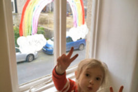What a brilliant rainbow and you were allowed to paint on the window - fantastic!