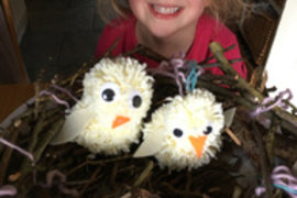 Someone else has been busy making pompom animals - we miss that cheeky smile!