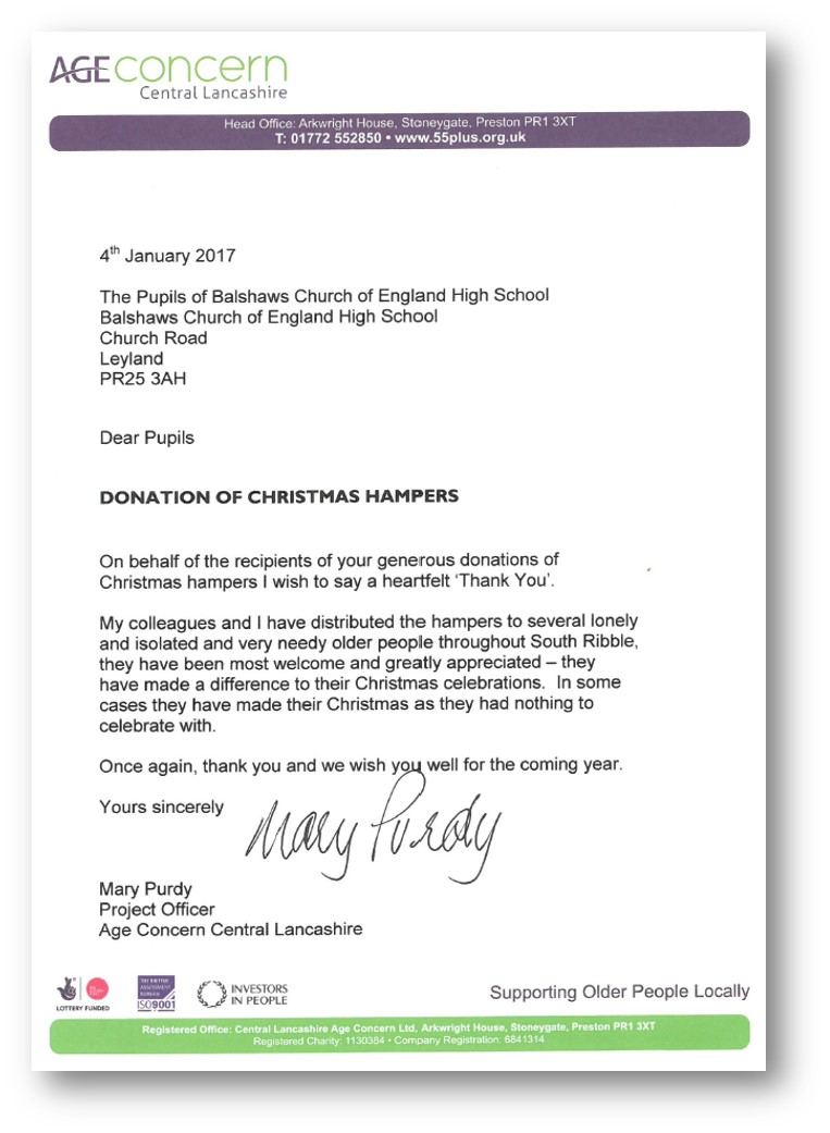 Charity work and fundraising balshaws church of england high school please see this lovely letter below from age concern thanking us for the hampers and how they made a difference aljukfo Image collections