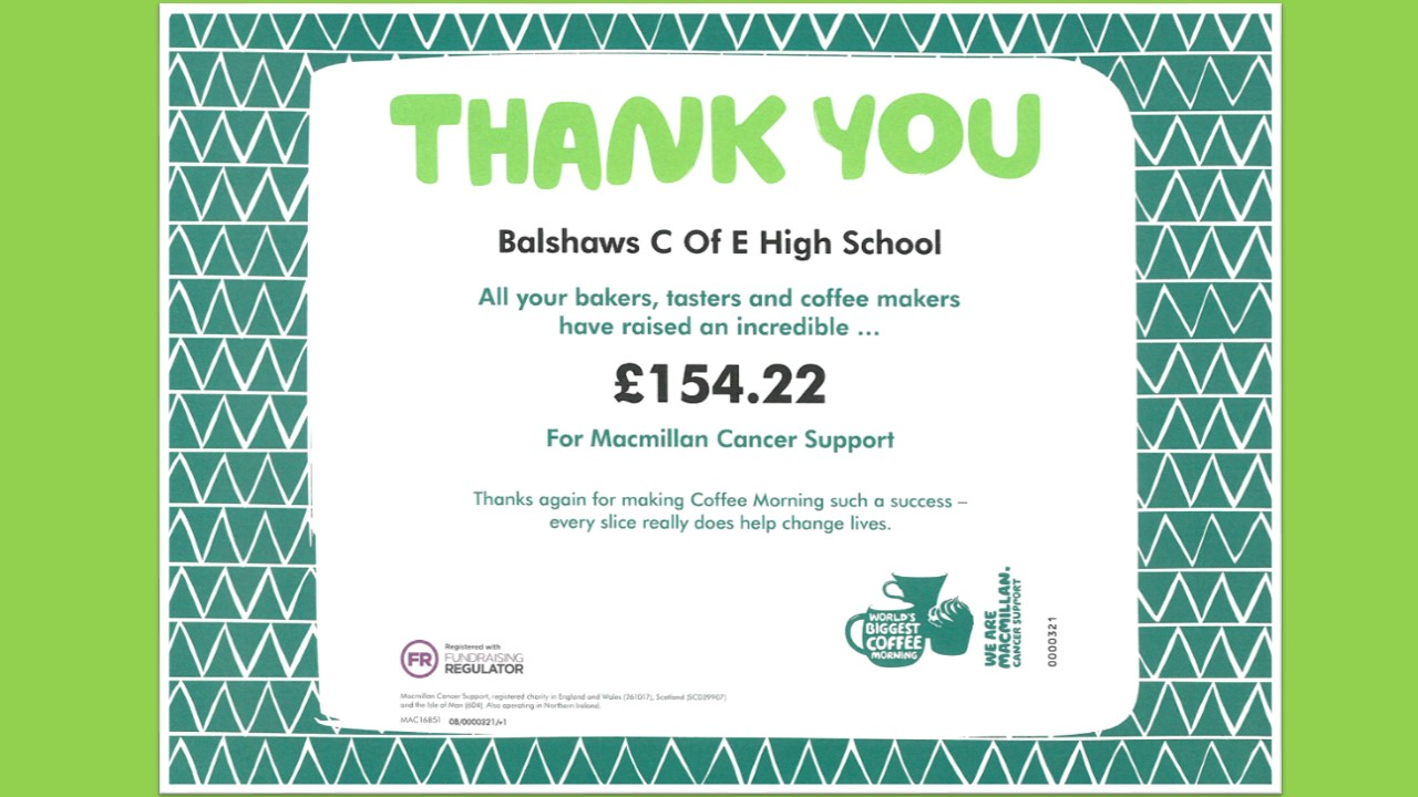 Charity Work And Fundraising Balshaws Church Of England High School