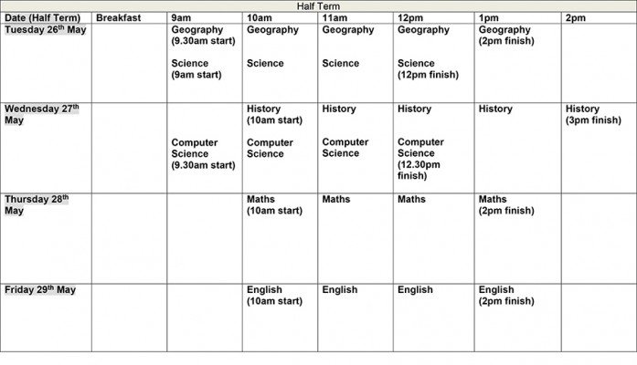 Half Term Study Timetable  Blackpool Aspire Academy