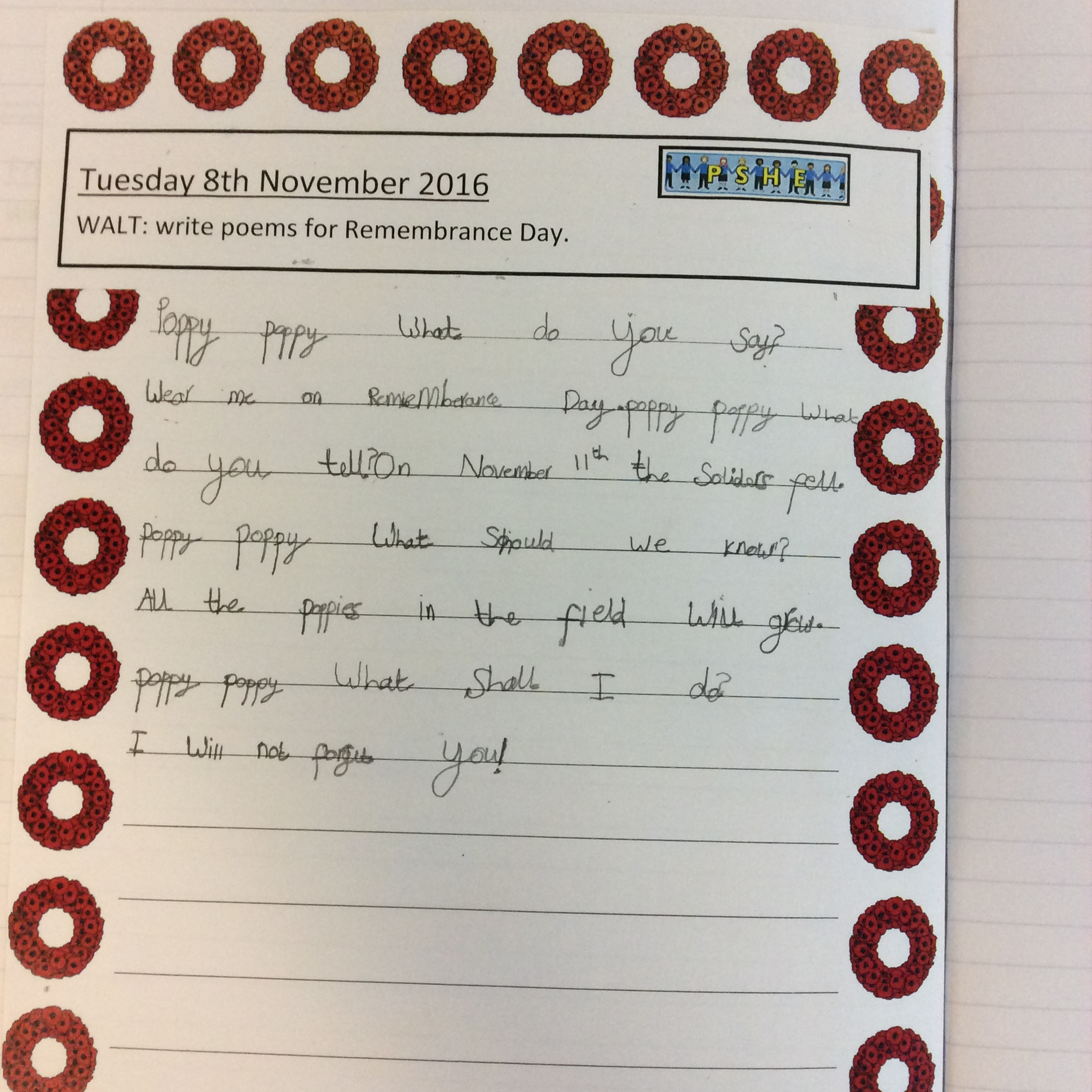 Remembrance Day Poems Boarshaw Primary School