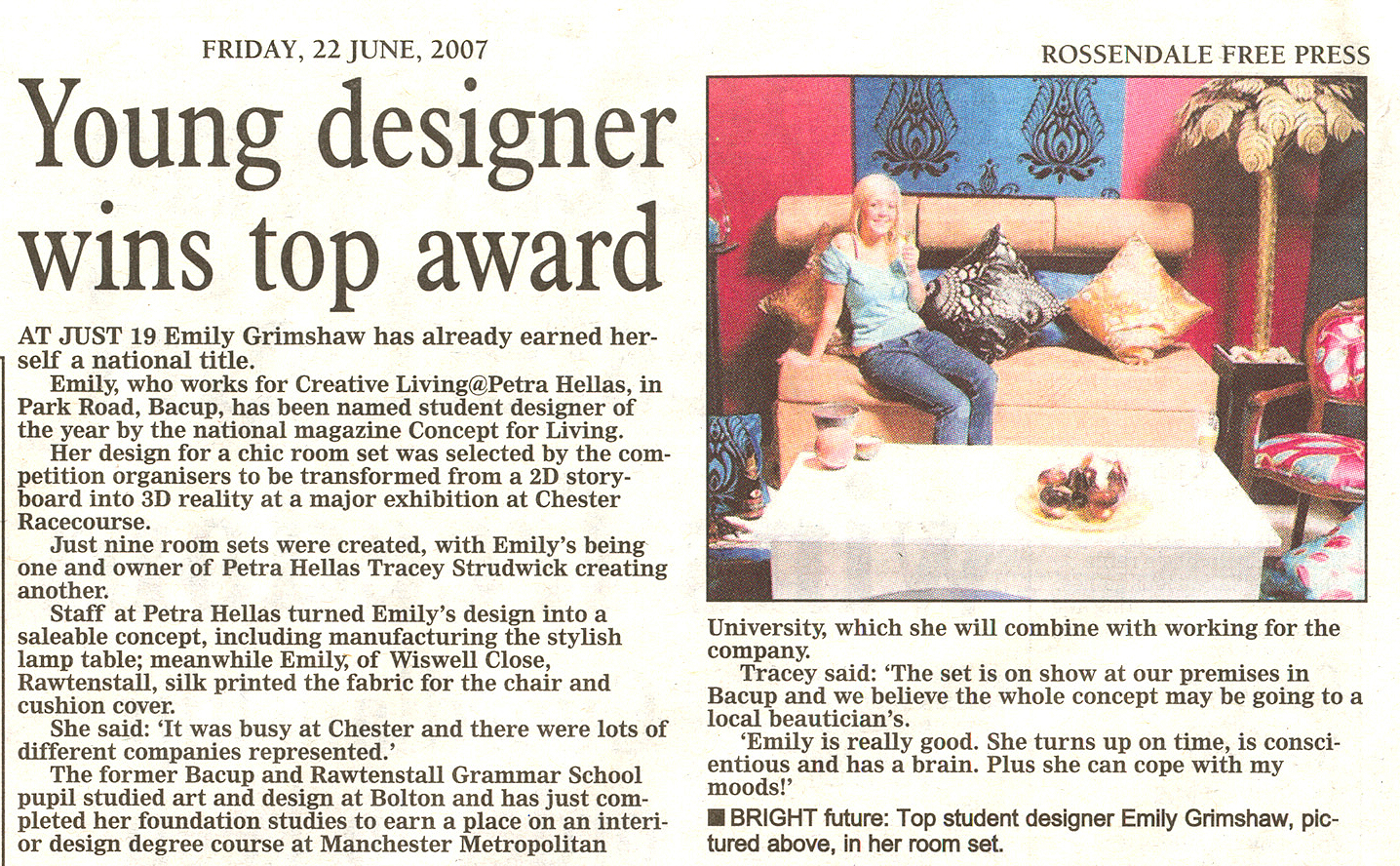 Interior Design Degree Course At Manchester Metropolitan University Read Press Article About Emily