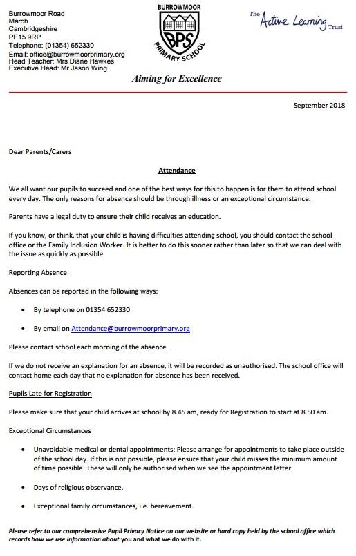 Attendance | Burrowmoor Primary School