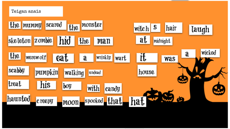 Halloween Poems Castle Hill Primary School