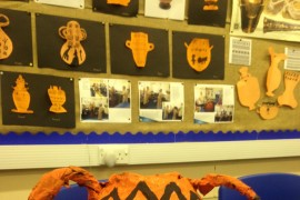 Panther Class made Ancient Greek inspired papier mache vases.