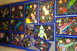 Art work created by Class 3 in the style of Peter Thorpe - space artist