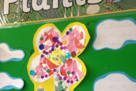 Lion Class worked together to create this large collage of a flower for their classroom display.