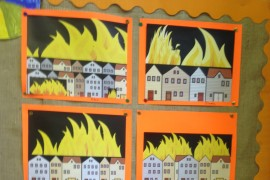 We used cutting and pasting  skills on the computer to create these very effective pictures of the Great Fire of London