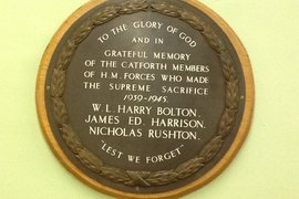 Three young men from Catforth lost their lives in World War Two.  This plaque inside the village hall remembers them.