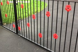 Beautiful poppy gates at the entrance of Catforth Memorial Hall.