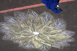 Chalk drawings on the playground