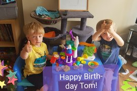 The boys have made a party for Captain Tom!