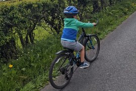 Charlie getting much more confident on his big bike!