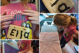 Pyrography skills to make a name plaque and learning how to iron for a cub badge.