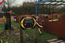 There's a solar powered stopwatch so we can time each lap and challenge ourselves to improve.