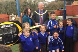 The Mayor of Preston Mr David Borrow kindly visited to cut the ribbon and officially open our running track.  How exciting!