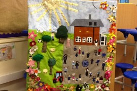 The whole school collaborated to make this wonderful wall hanging. class 1 made the flowers, Class 2 made the trees and the tractors. Class 3 made the children and we all worked together to make the buildings.