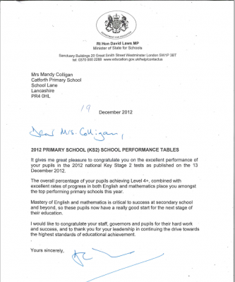 letter of congratulations catforth primary school