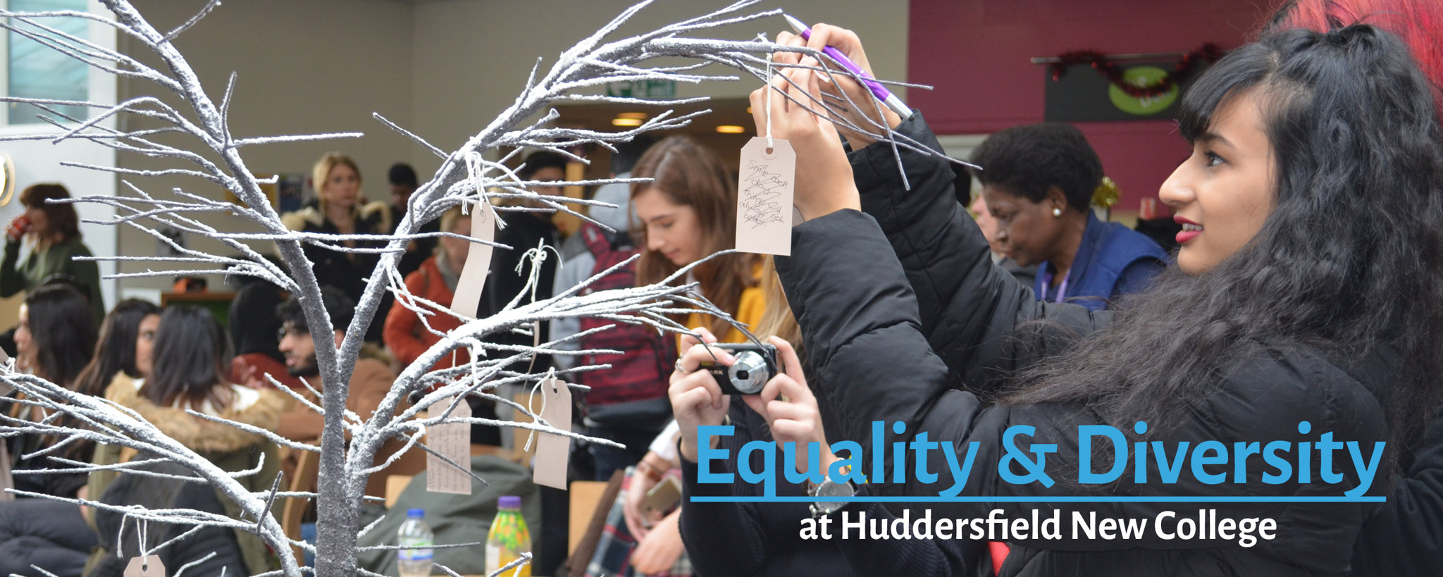 A student taking part in an equality and diversity event