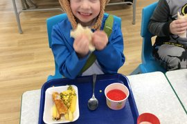 Enjoying our special World Book Day lunch.
