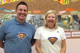 Mr Herbett and Mrs Cadwallader two of our Super Volunteers.