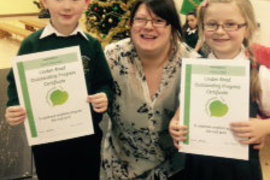Two very proud Year 1 progress winners with Miss. McNee.