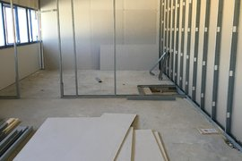 Staff room walls begin to go up