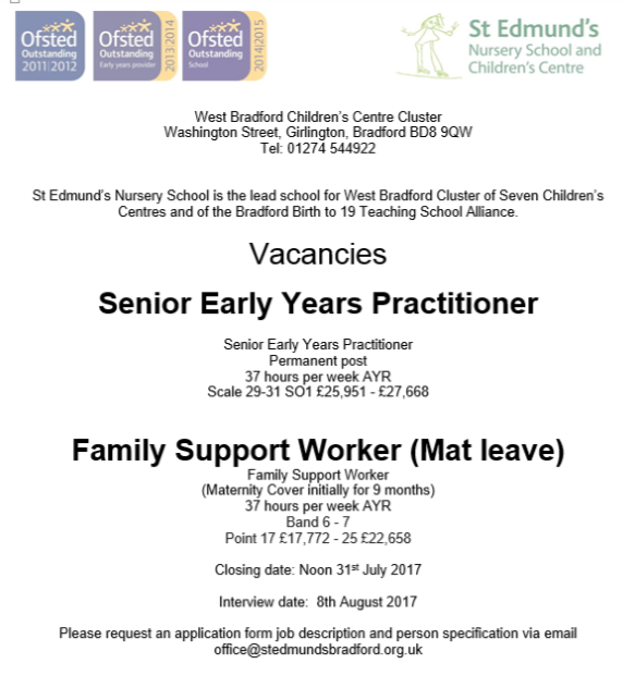 Job Vacancies In The West Bradford Cluster St Edmunds Nursery