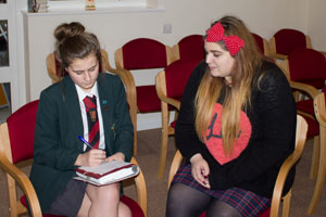 Chaplain gets interviewed by pupils