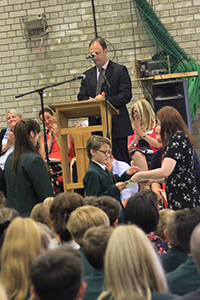 Staff give out awards to pupils
