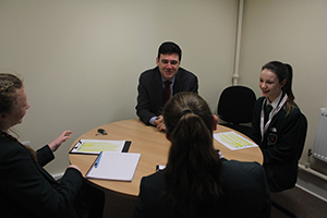 Pupils speak to Andy Burnham
