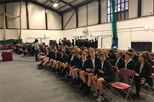 Pupils gather in the hall