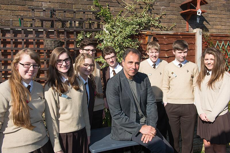 Y11 pupils with award winning author, Anthony Horowitz