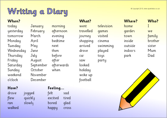 Diary writing help st stephen 39 s c of e primary school for Diary writing template ks1